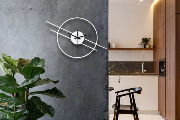ساعت دیواری طرح مدرن دوخطی