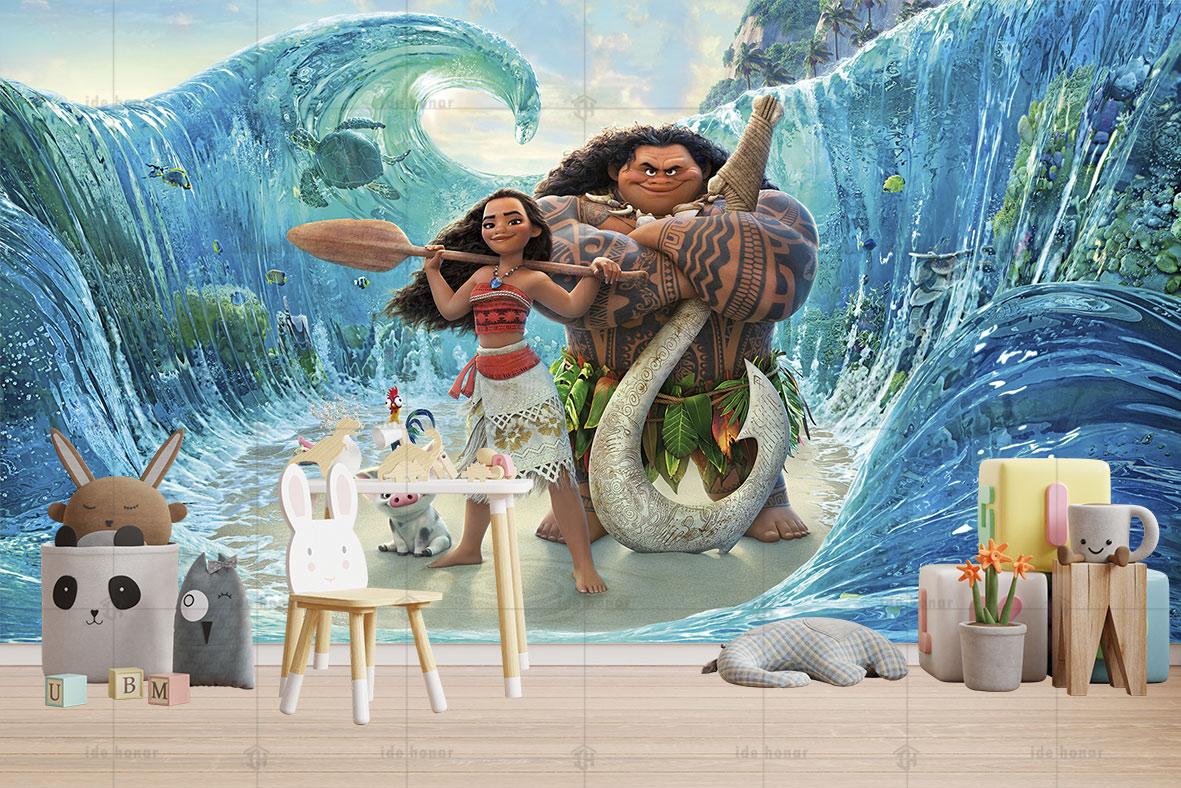 پوستر دیواری اتاق کودک ماویی و موانا
