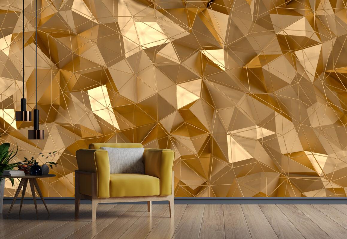 پوستر دیواری سه بعدی الگو مثلثی