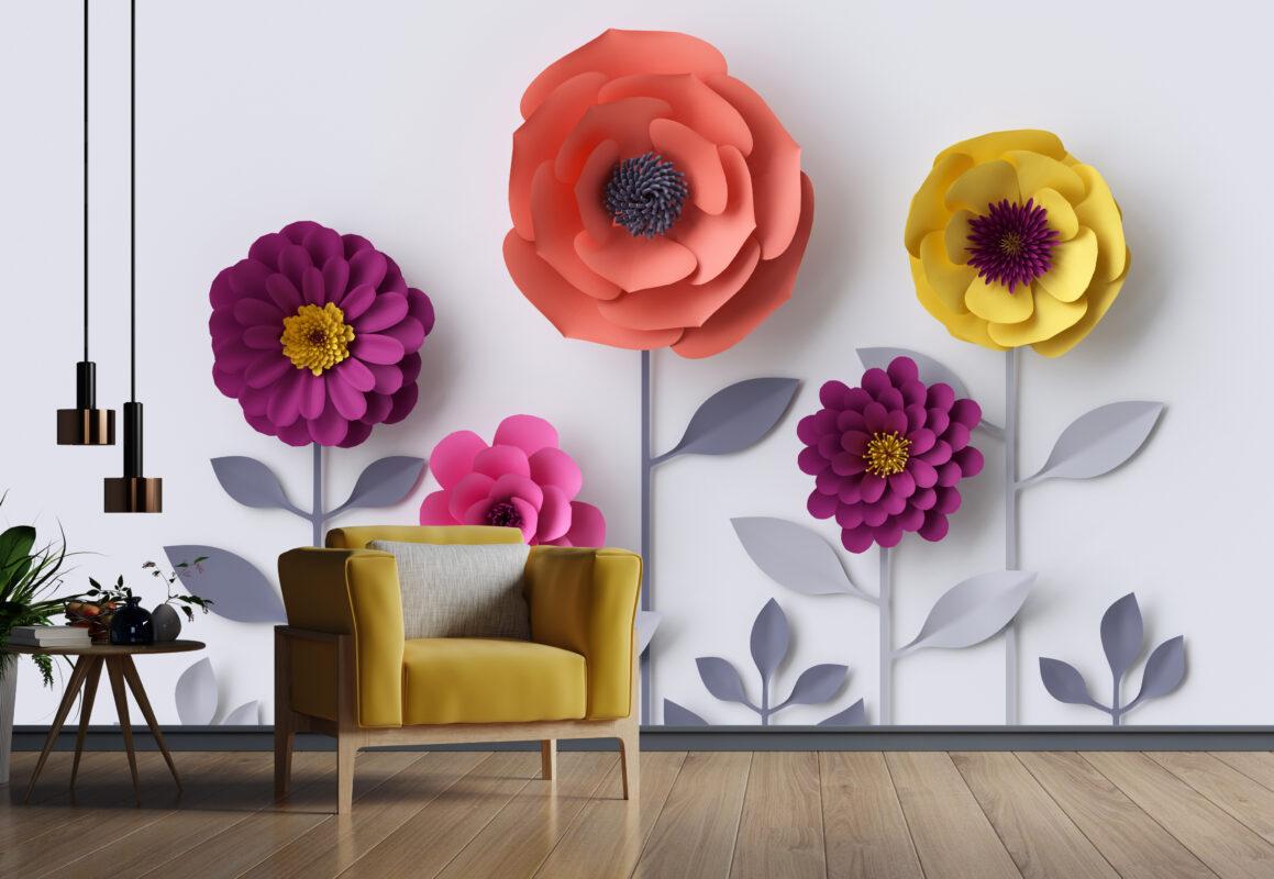 پوستر دیواری سه بعدی گل رنگارنگ
