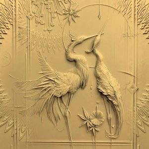 پوستر دیواری سنگتراشی دو پرنده