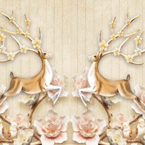 پوستر دیواری گوزن و گل