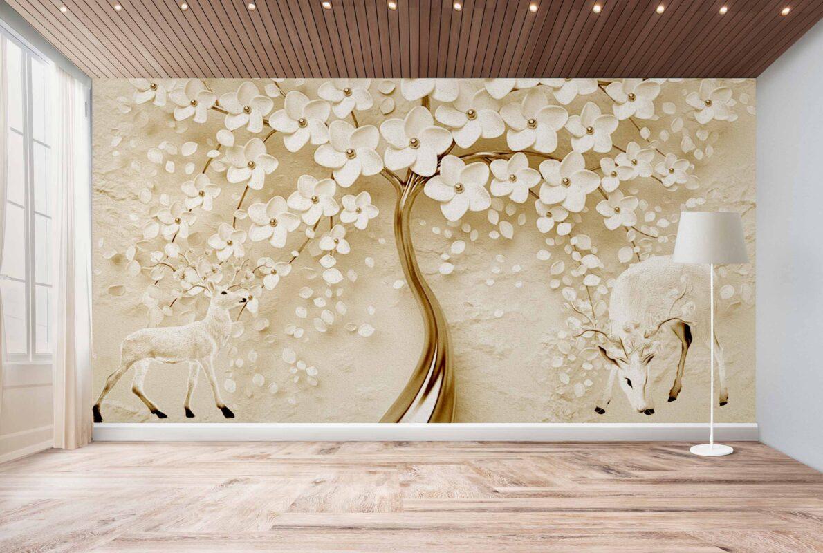 پوستر دیواری درخت طلایی و آهو