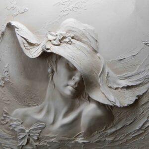 پوستر دیواری چهره زن سه بعدی