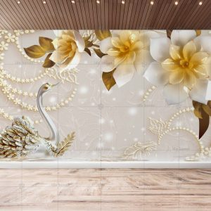 پوستر دیواری گل و قو