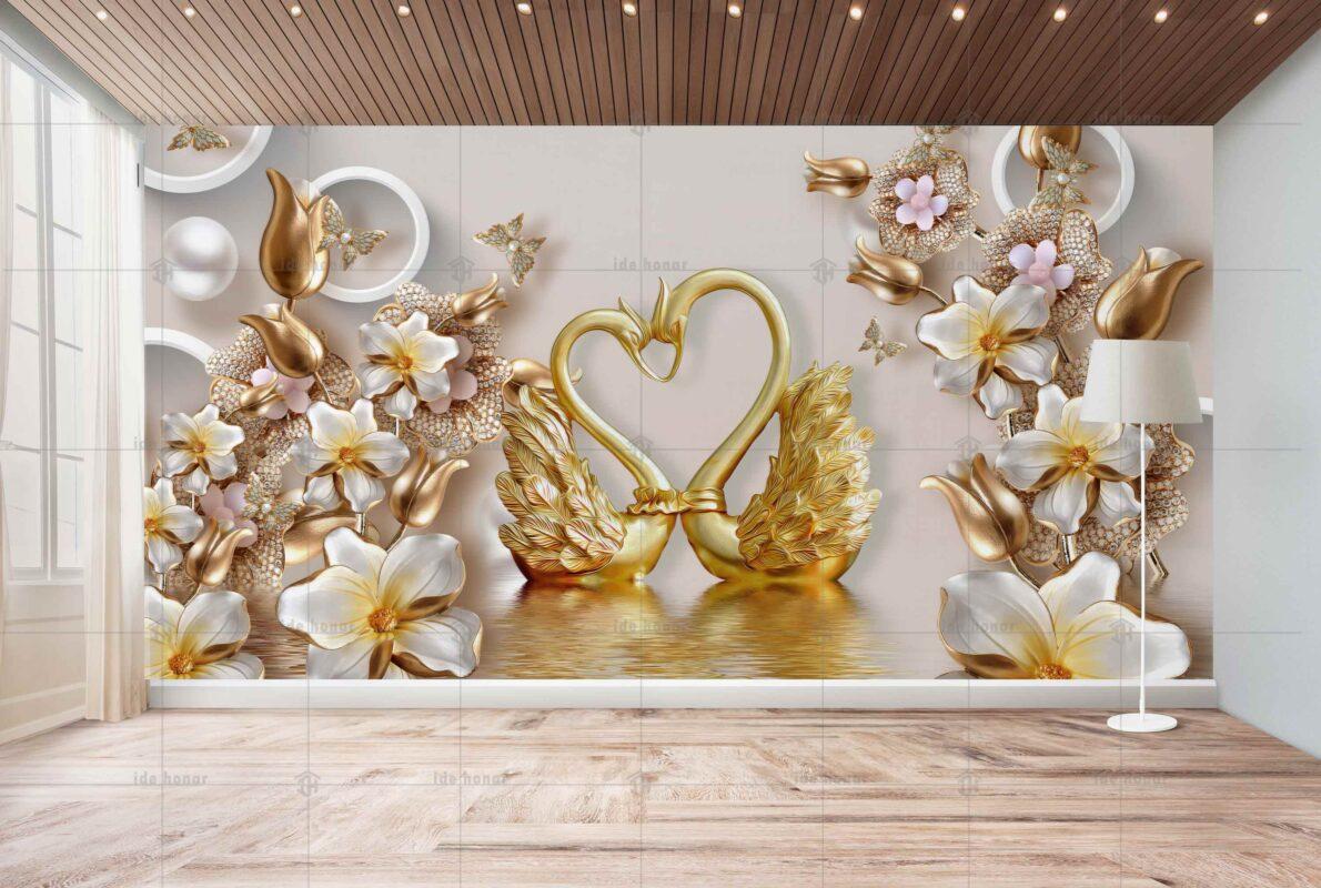 پوستر دیواری دو قوی طلایی در برکه