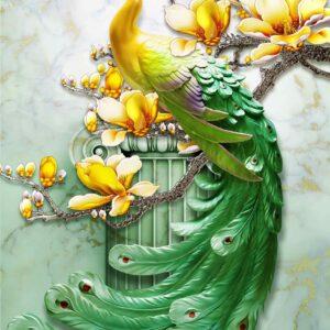 پوستر دیواری طاووس سبزپر