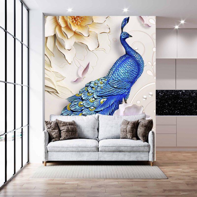 پوستر دیواری طاووس آبی
