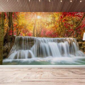 پوستر دیواری رودخانه در جنگل پاییزی