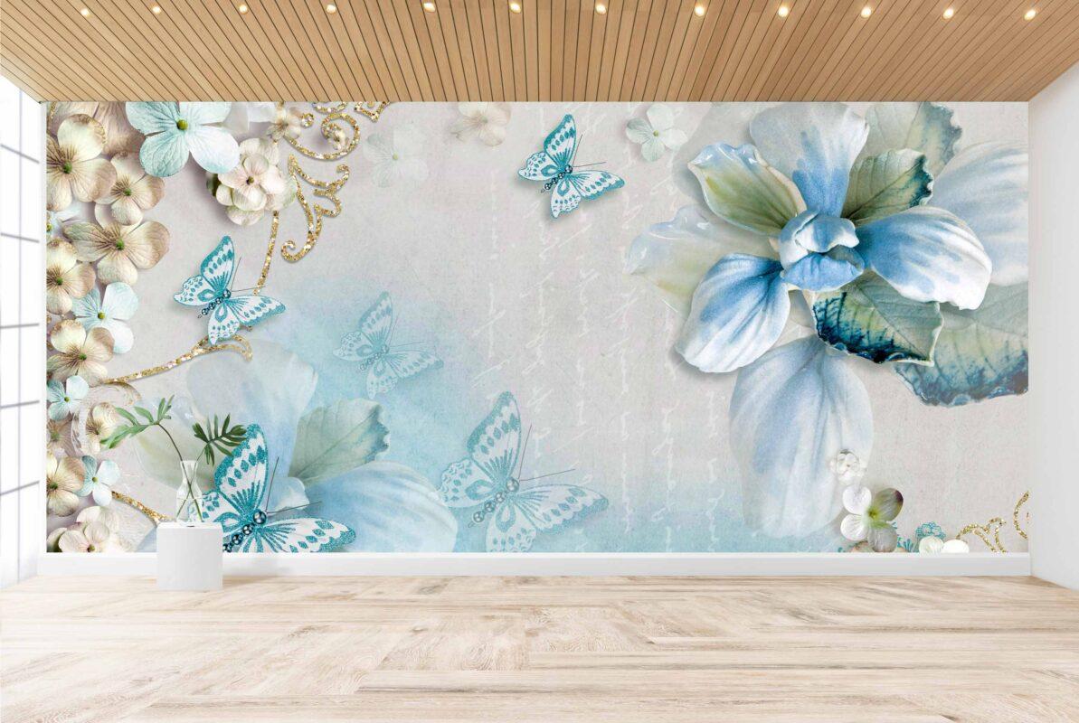 پوستر دیواری فانتزی گل آبی
