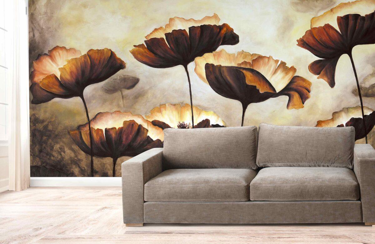 پوستر دیواری نقاشی گل قهوه ای