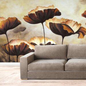 پوستر دیواری گل قهوه ای نقاشی