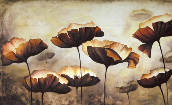 پوستر دیواری گل قهوه ای