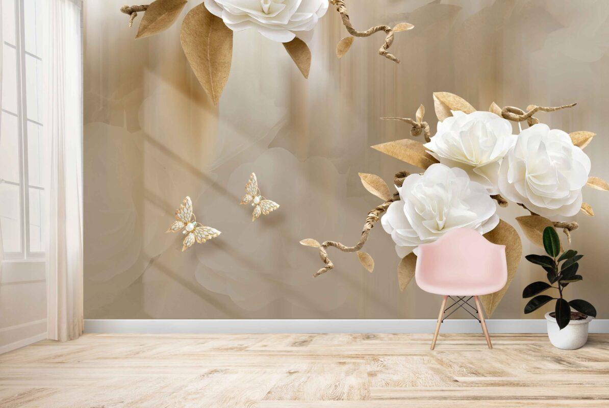 پوستر دیواری گل و پروانه