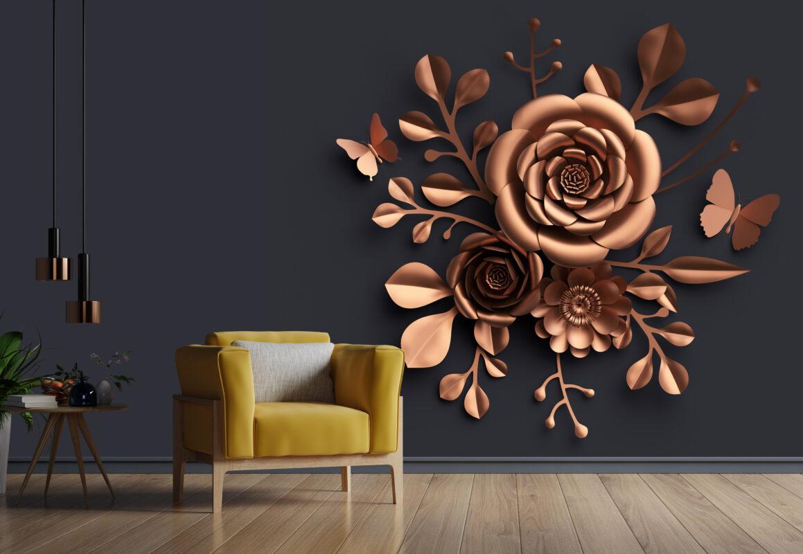 پوستر دیواری سه بعدی گل برجسته