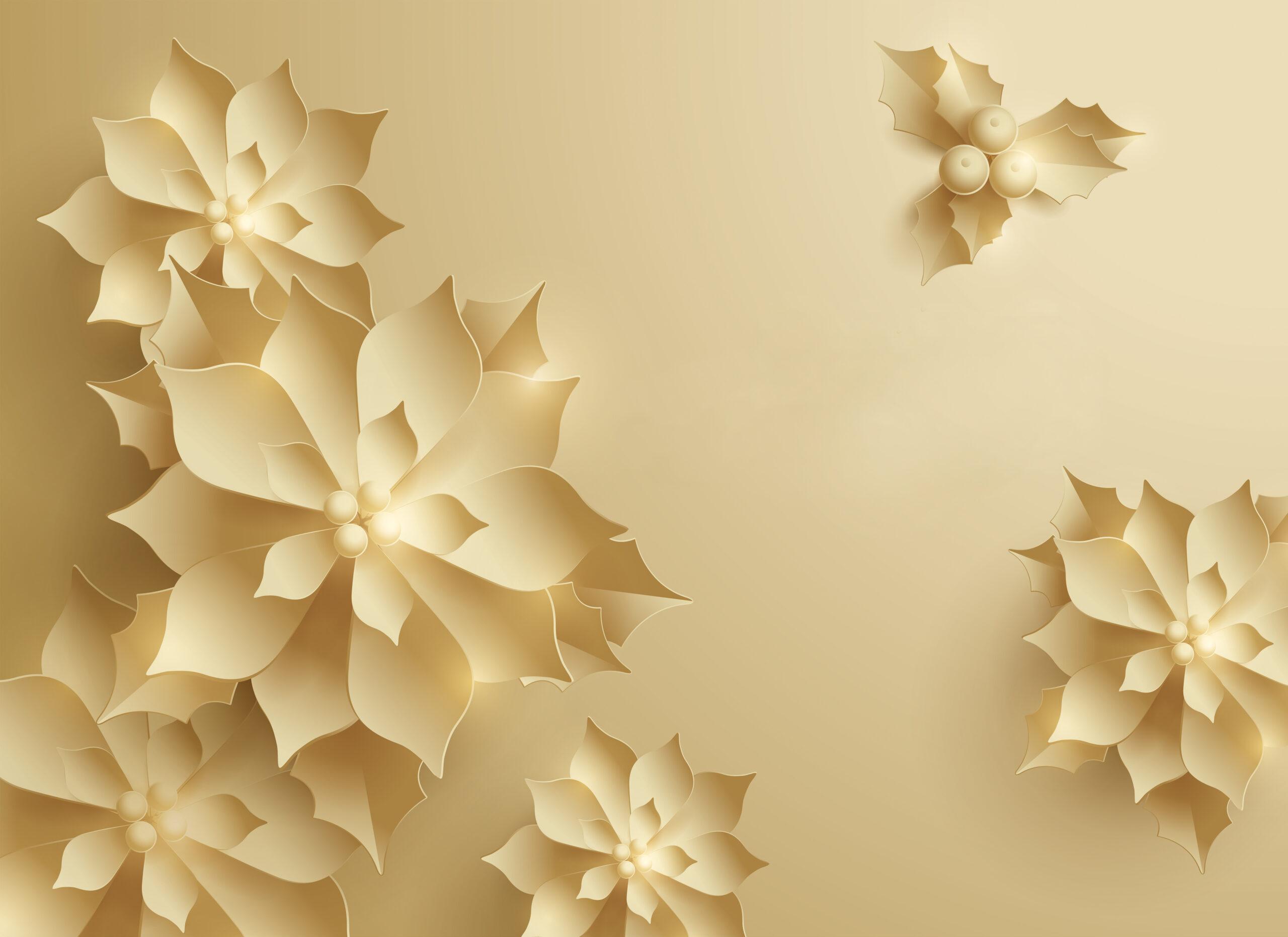 Yellow 3D flower wall poster