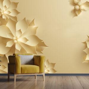 پوستر دیواری گل سه بعدی زرد