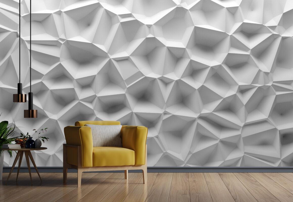 پوستر دیواری سه بعدی بافت سفید