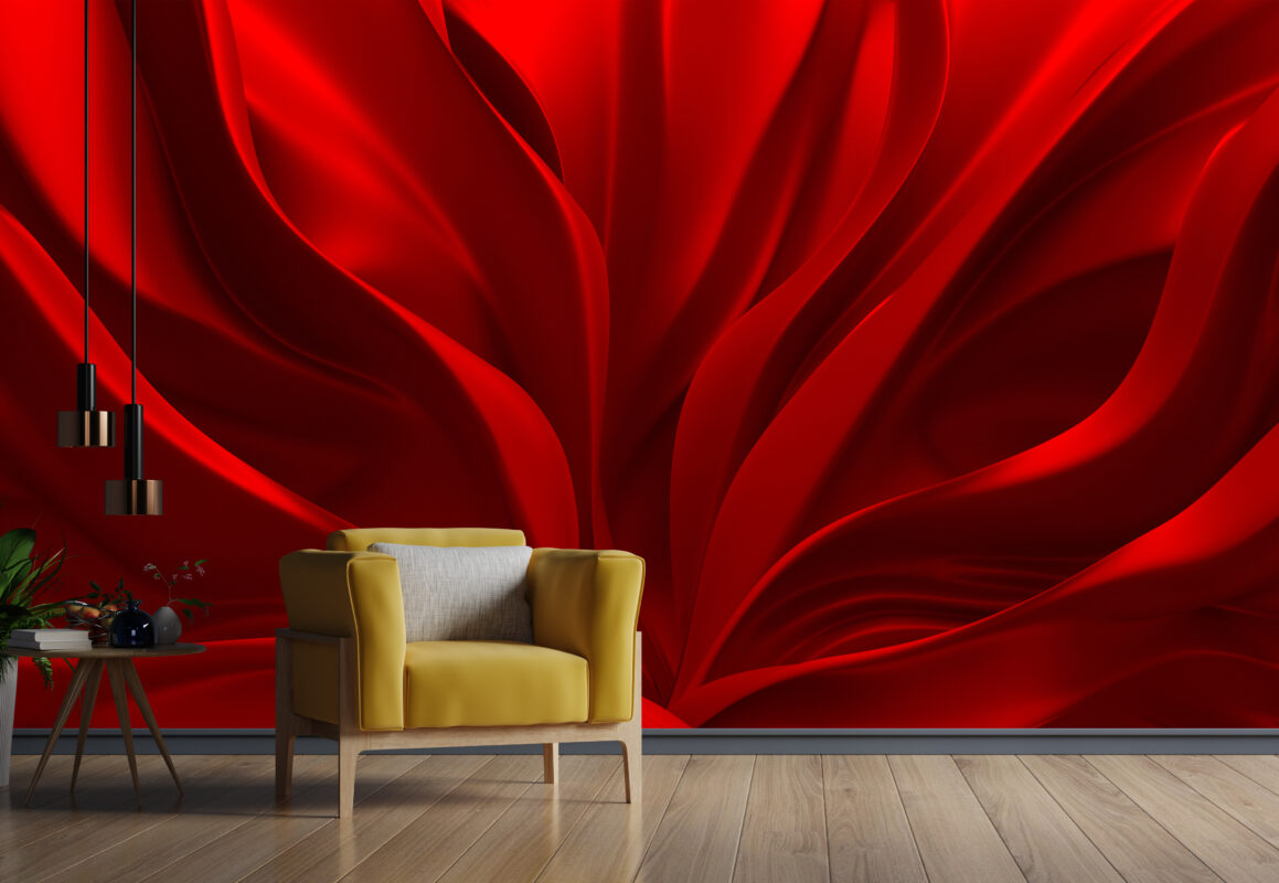 پوستر دیواری سه بعدی پارچه ابریشم قرمز