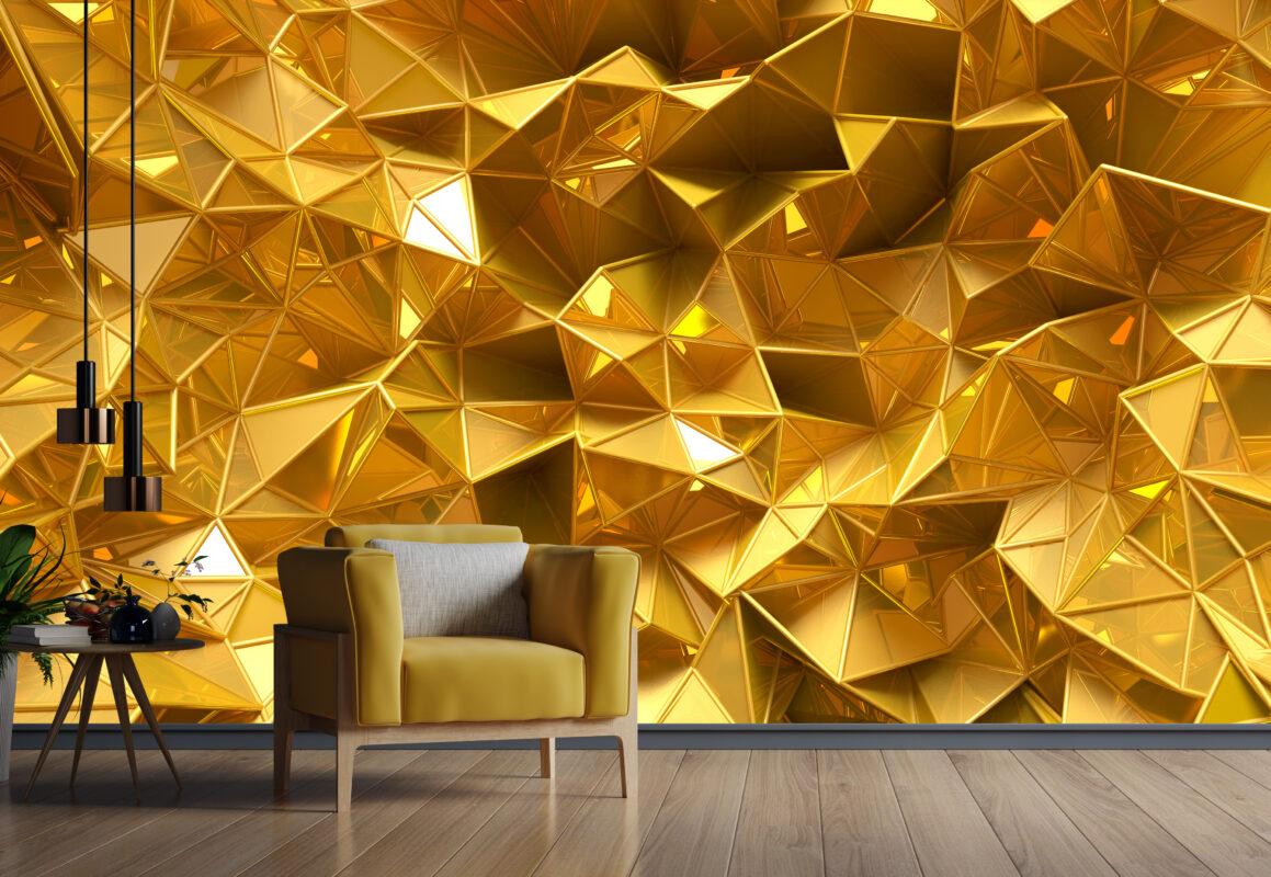 پوستر دیواری بافت برجسته طلایی