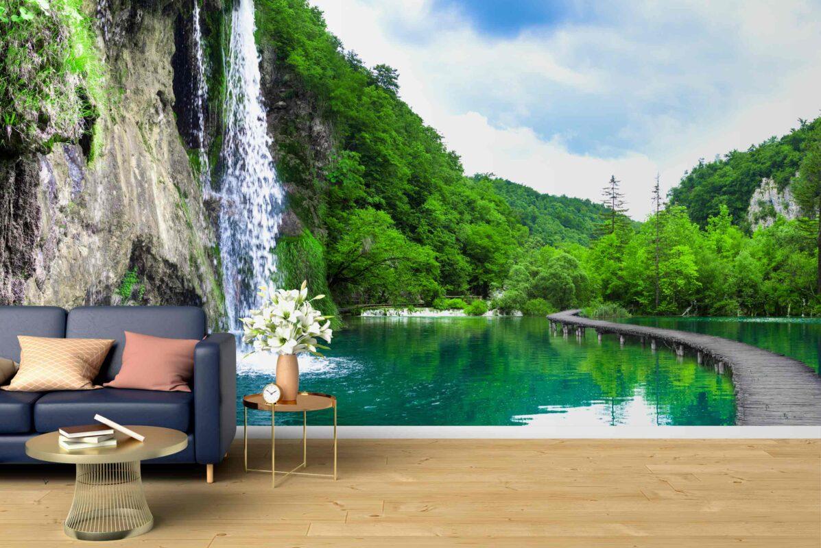پوستر دیواری آبشار در برکه