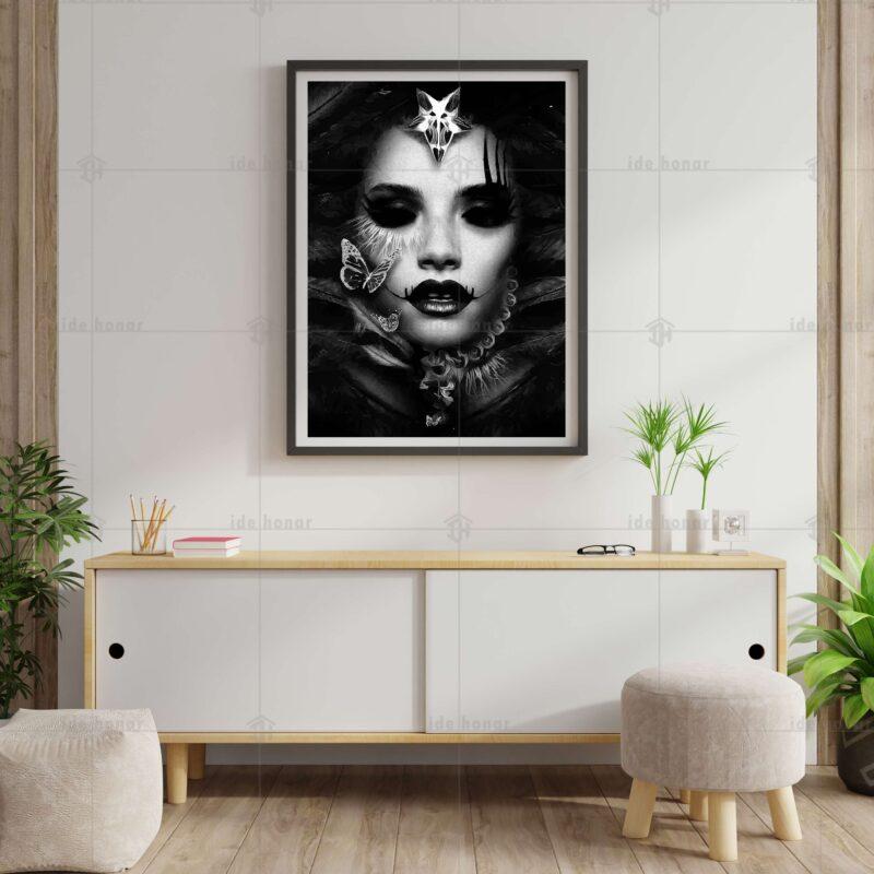 تابلو عکس نقاشی دیجیتال سیاه و سفید پورتره زن