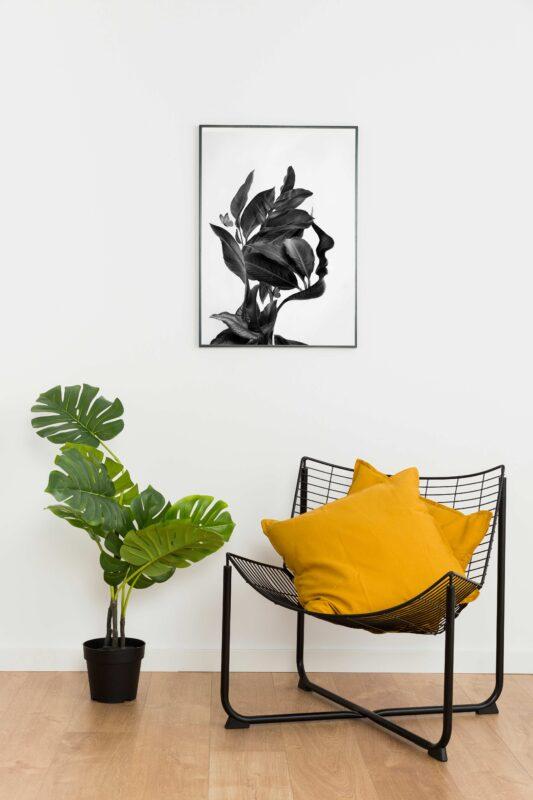 تابلو مینیمال طراحی چهره با برگ