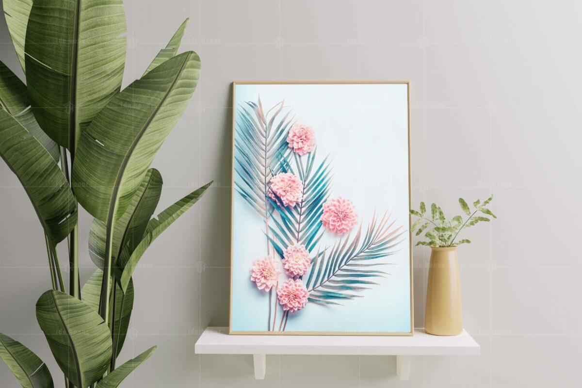 تابلو عکس دکوری مینیمال شاخه گل