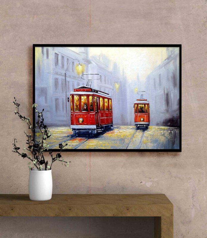 تابلو عکس نقاشی فانتزی قطار شهری