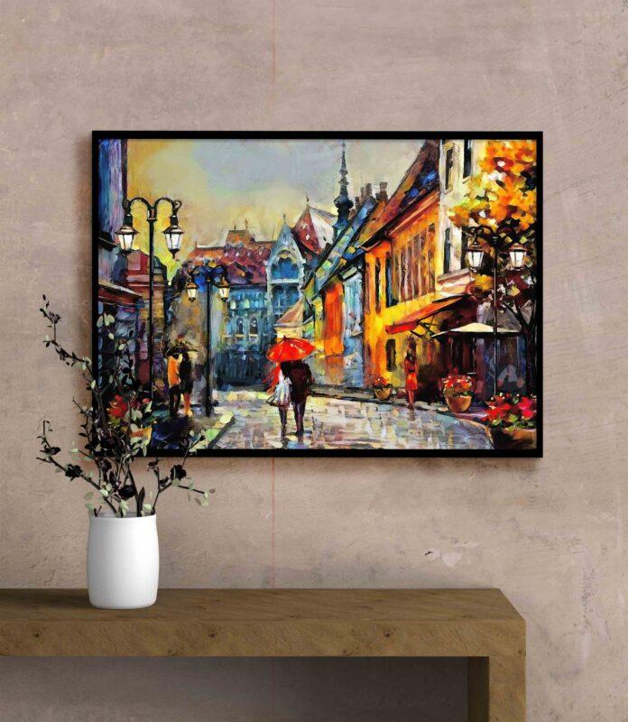 تابلو عکس نقاشی فانتزی شهر زیبا