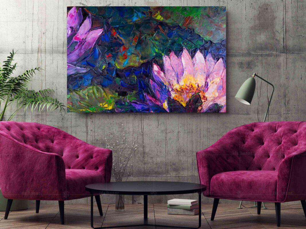 تابلو عکس نقاشی گل با رنگ روغن