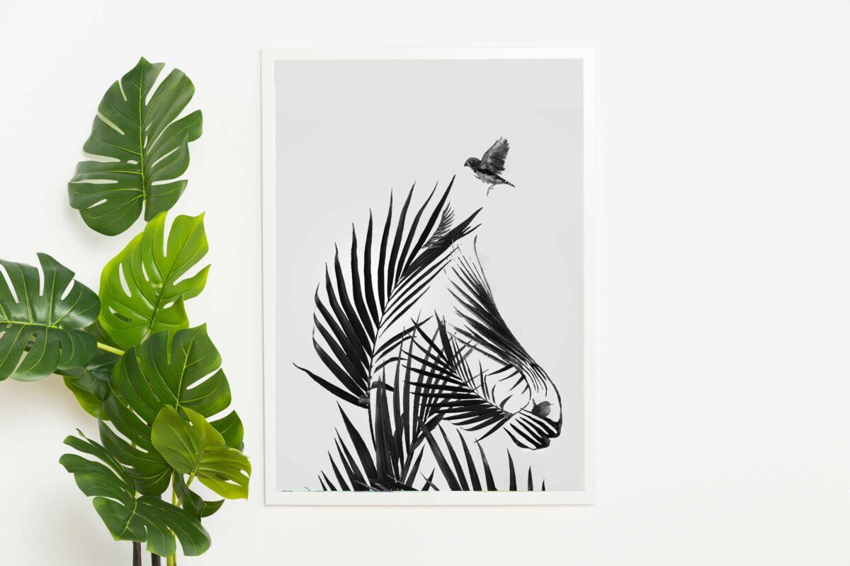 تابلو عکس مینیمال طراحی اسب با برگ