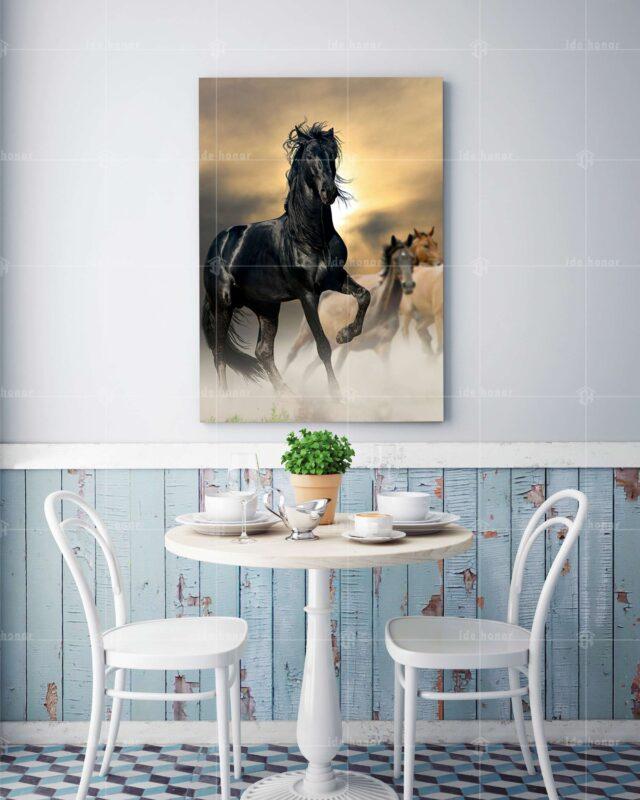 تابلو عکس اسب سیاه