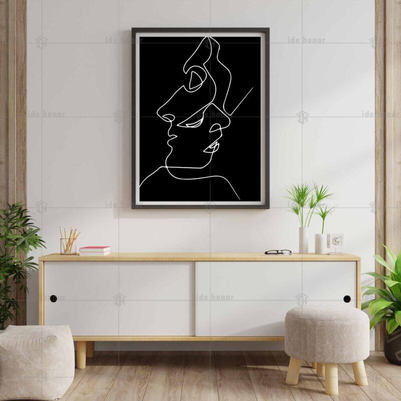 تابلو عکس مینیمال طراحی خطی عشق آمیخته