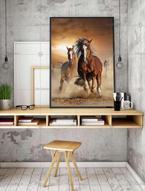 تابلو عکس دویدن اسب