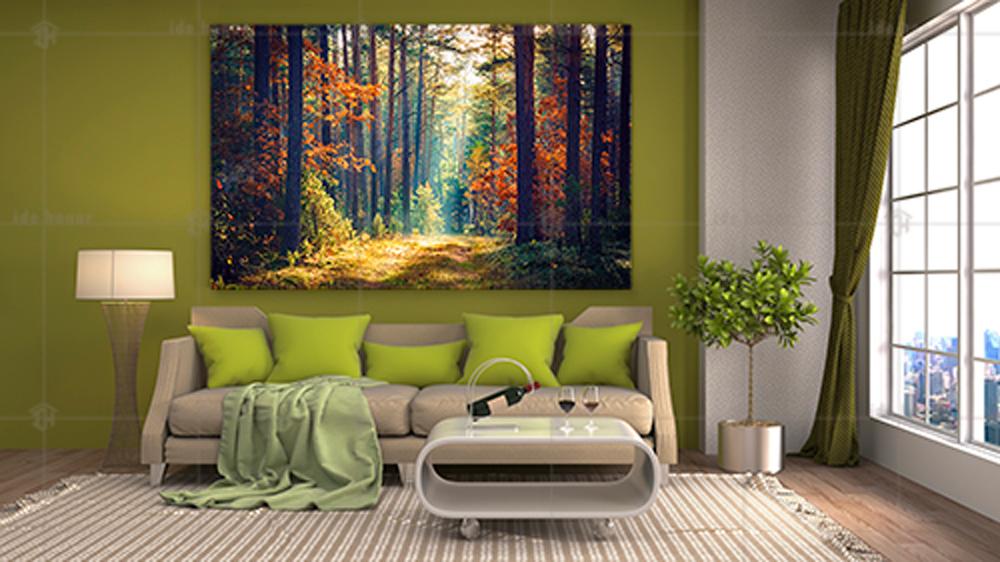 تابلو عکس دکوری جنگل رنگارنگ بهاری
