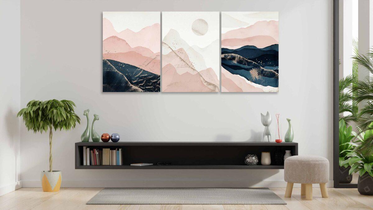 تابلو عکس سه تکه دکوری طراحی مینیمال کوه
