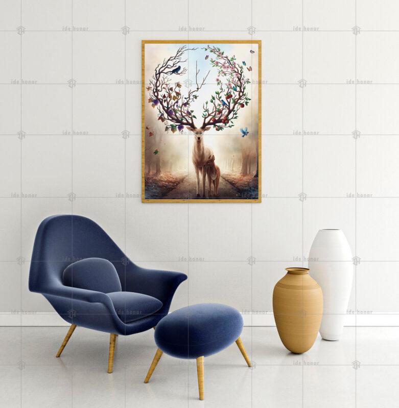 تابلو عکس نقاشی گوزن زیبا