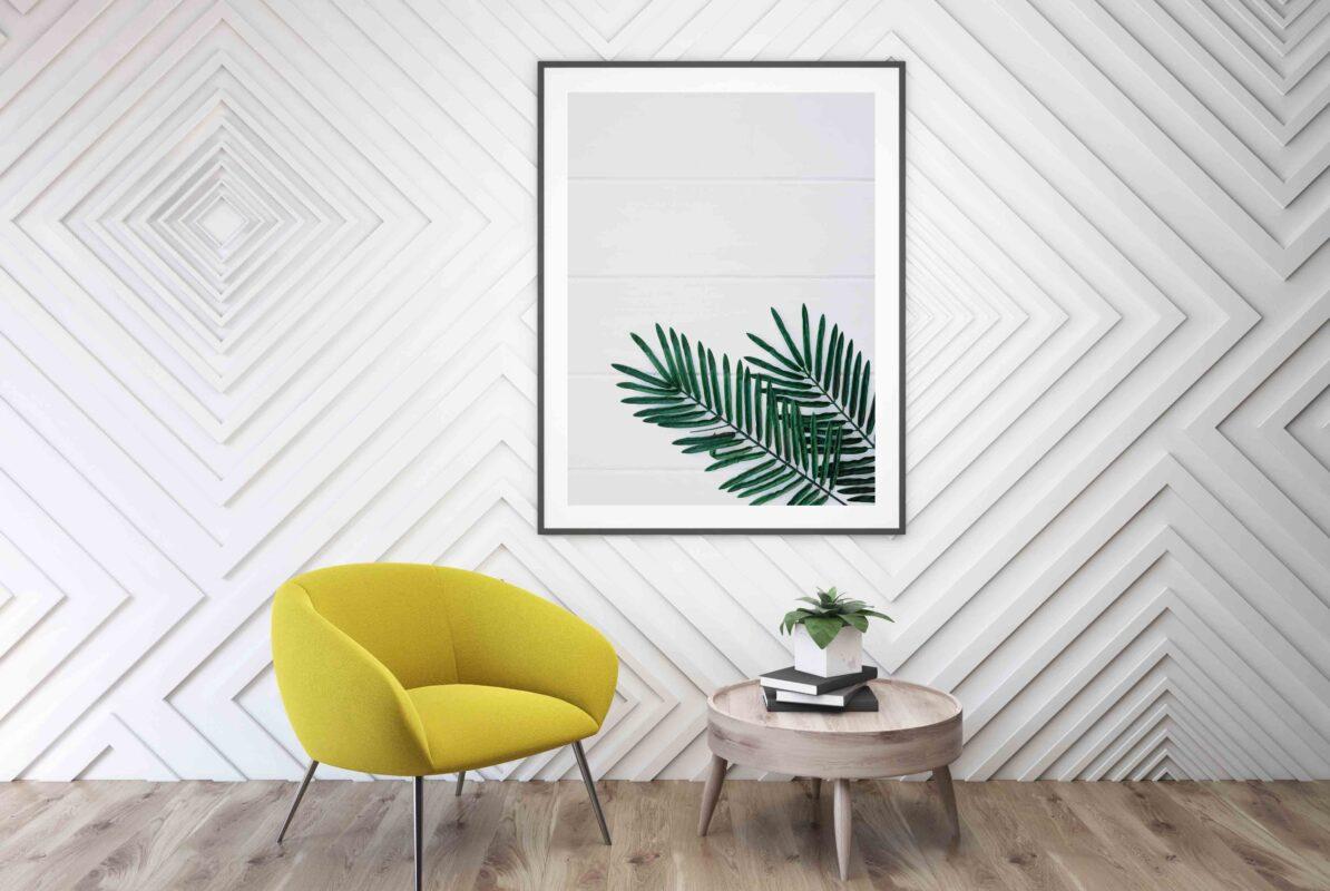 تابلو عکس دکوری مینیمال برگ سبز