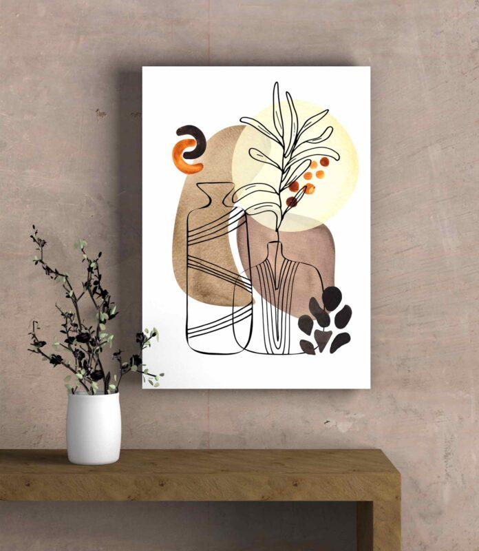 تابلو عکس مینیمال طراحی خطی گلدان
