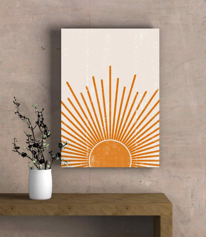 تابلو عکس انتزاعی مینیمالیست خورشید نارنجی