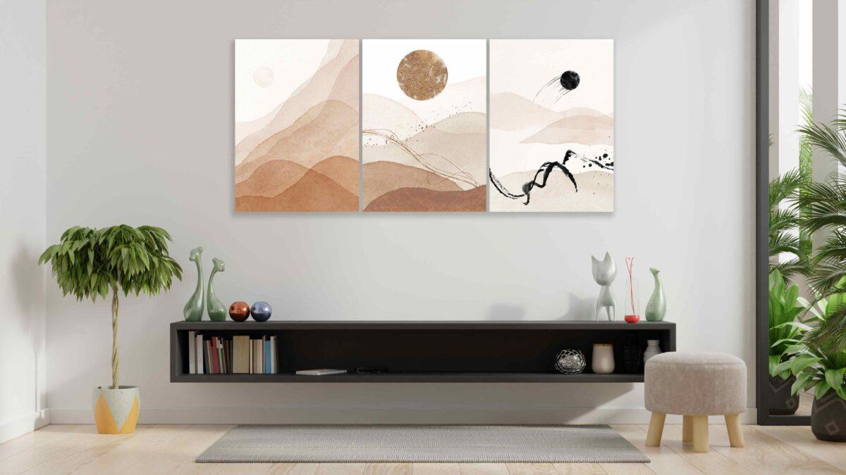 تابلو عکس مینیمال سه تکه طلوع خورشید