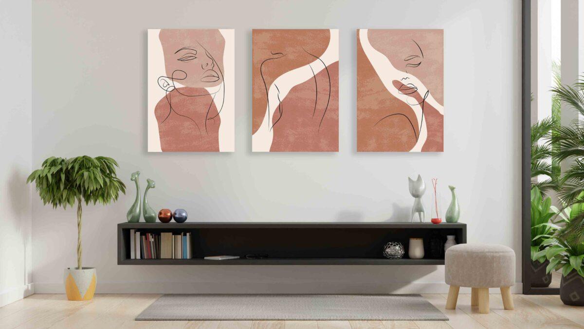 تابلو مینیمالیست سه تکه نقاشی چهره خطی