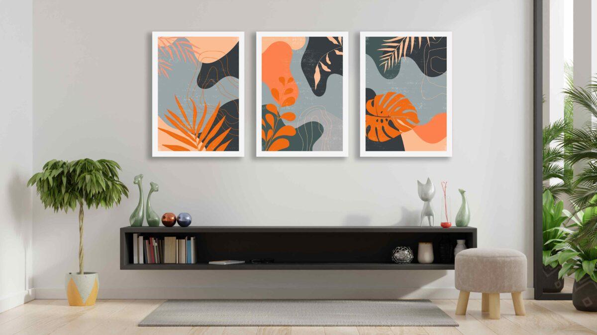 تابلو مینیمال سه تکه برگهای زیبا