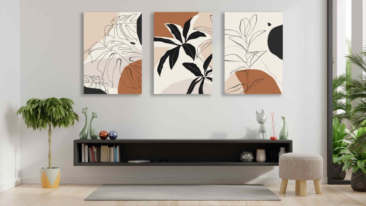 تابلو مینیمال سه تکه نقاشی خطی برگ گل