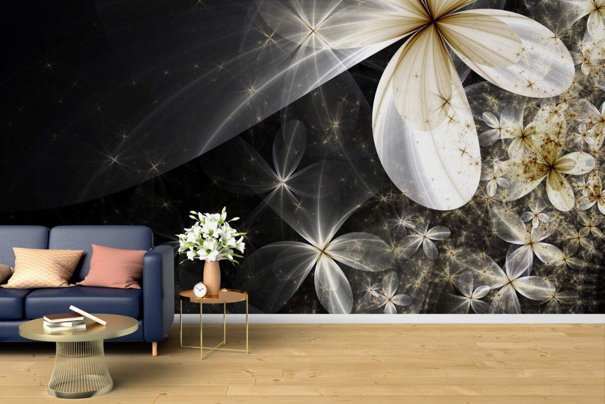 پوستر دیواری گل فانتزی سفید